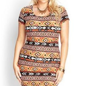 Forever 21 plus tribal abstract bodycon dress 3x